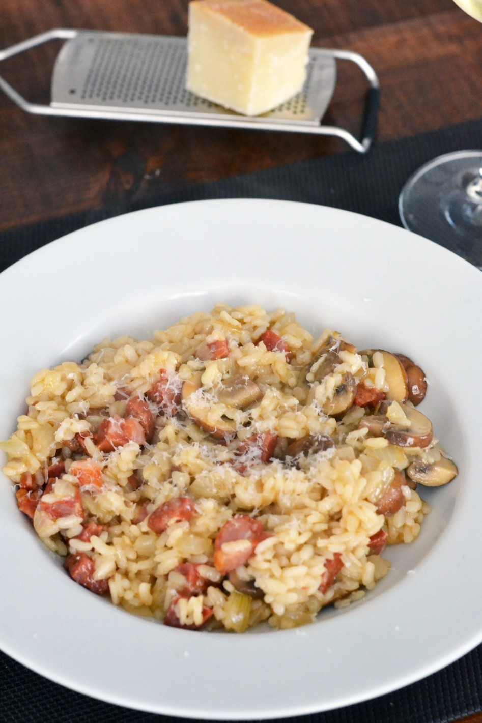 vleeschwaar risotto met pittige worst ohmyfoodness