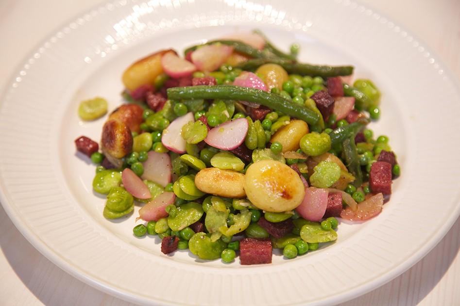 Vleeschwaar recept vleeswaren 24Kitchen Bonenhusseltje salami sperziebonen krieltjes