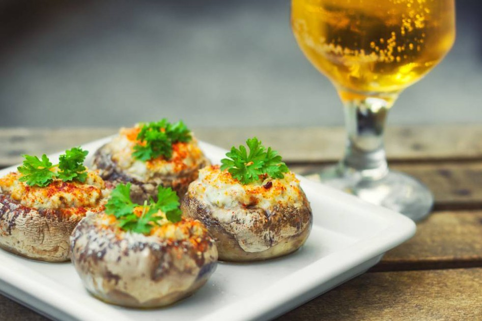 Vleeschwaar vleeswaren recept amuse champignons gekookte ham roomkaas