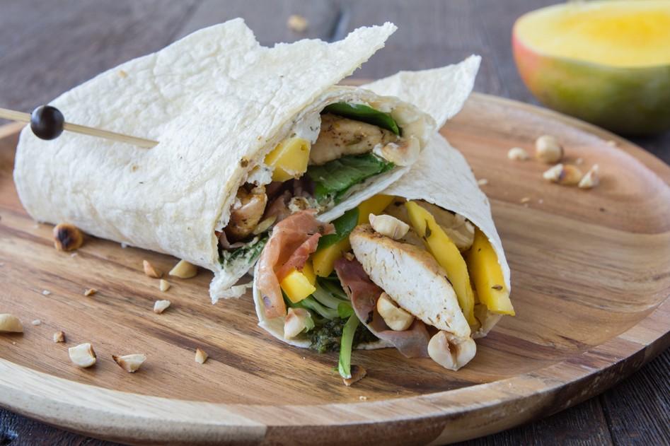 Vleeschwaar recept kip mango wrap vleeswaren kipfilet rauwe ham