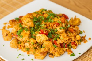 Vleeschwaar recept vleeswaren rijst schotel kipfilet chorizo