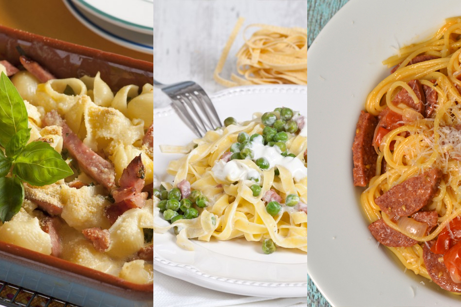 Vleeschwaar vleeswaren tip recepten makkelijke snelle pasta met droge worst chorizo ham salami spek